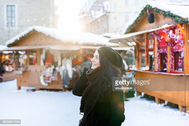 woman enjoying christmas time - estonia stock photos and pictures