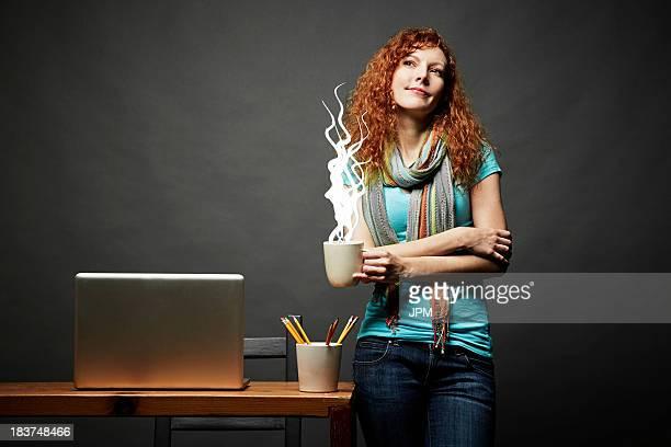 woman enjoying cup of steaming hot beverage - hot cartoon women stockfoto's en -beelden