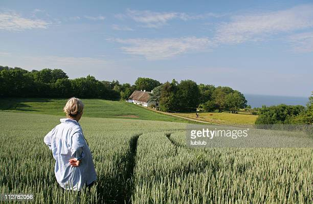 woman enjoying her  beautiful land and house in  denmark - denmark stock pictures, royalty-free photos & images