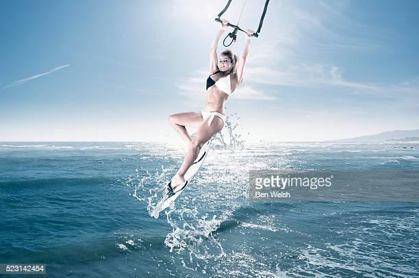 Woman enjoying Kitesurfing