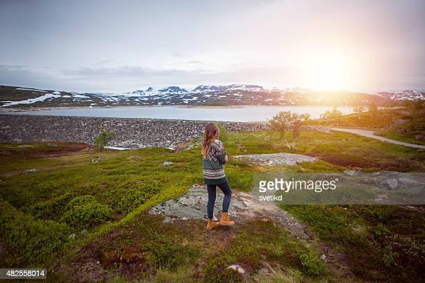 mulher desfrutando de paisagem do parque nacional da noruega. - planalto - fotografias e filmes do acervo