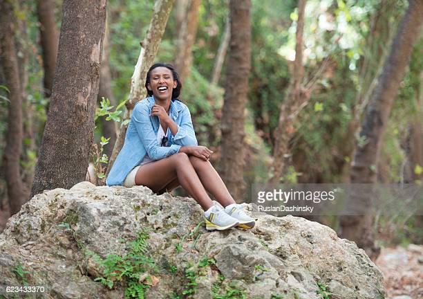 woman enjoying nature. - beautiful ethiopian girls stock photos and pictures