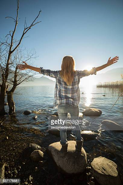 Woman enjoying nature-Arms outstretched