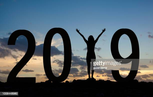 woman enjoying on the hill and 2019 years while celebrating new year - happy new month stock photos and pictures