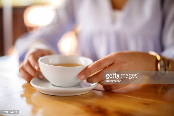 Woman enjoying tea