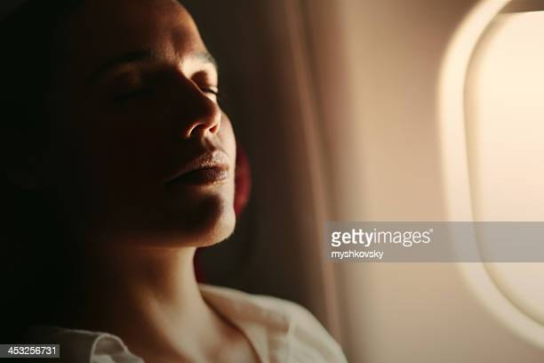 Woman enjoying the flight