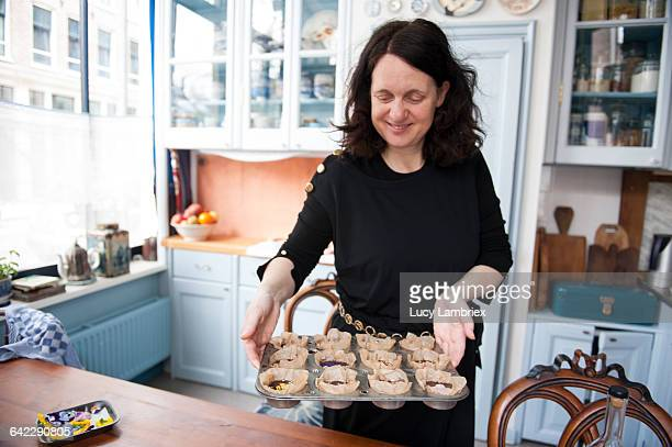 Woman enjoying the look of home made chocolates