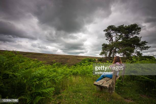 Woman enjoying the tranquil rural scene in Yorkshire, England
