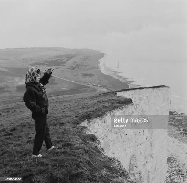 A woman enjoying the view at Beachy Head UK 27th November 1960