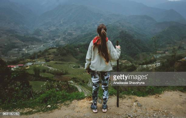 woman enjoying the view of rice terraces in northern vietnam - pretty vietnamese women stock pictures, royalty-free photos & images