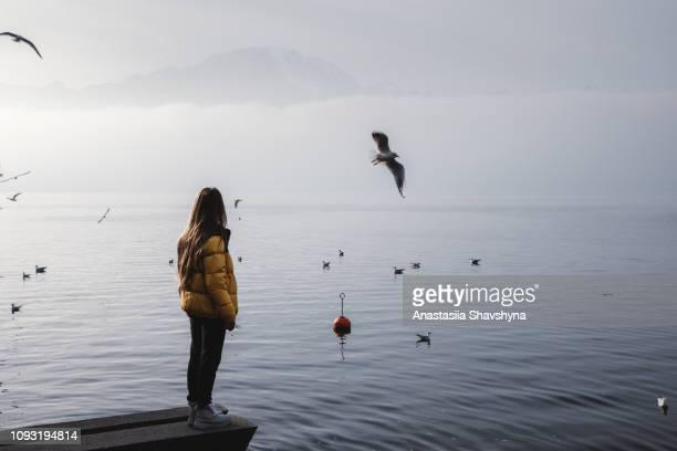 woman enjoying the view of swiss alps, lake geneva and flying birds in montreux - vaud canton stock photos and pictures