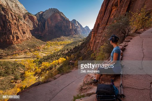 Woman enjoying the view of Zion National Park