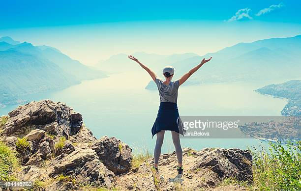Woman enjoying view at lake Como