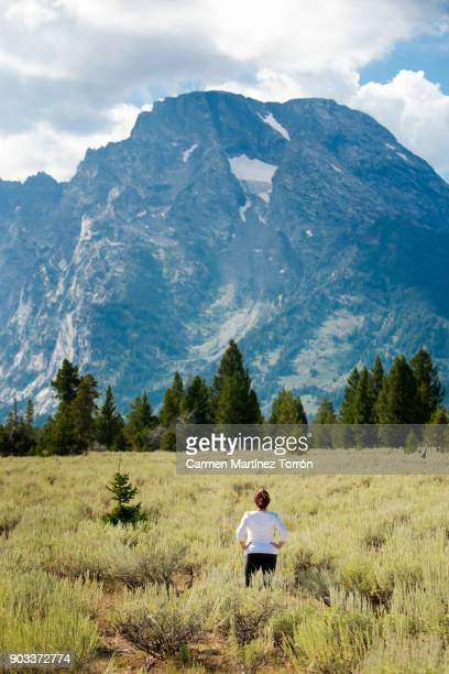 woman enjoying view at the grand teton national park, wyoming. - jackson hole stock pictures, royalty-free photos & images