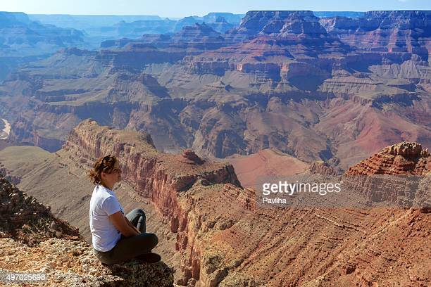 Woman Enjoying View of Grand Canyon Arizona USA