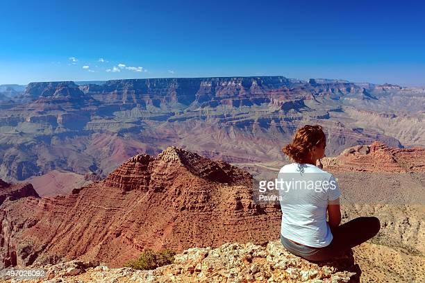 Woman Enjoying View of Grand Canyon Arizona USA