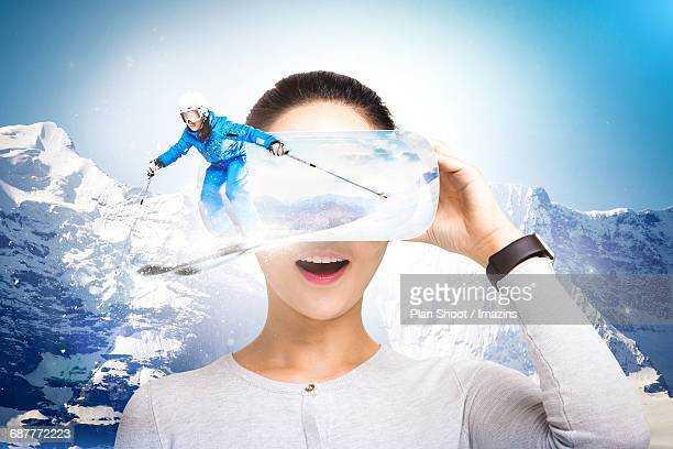 Woman enjoying VR