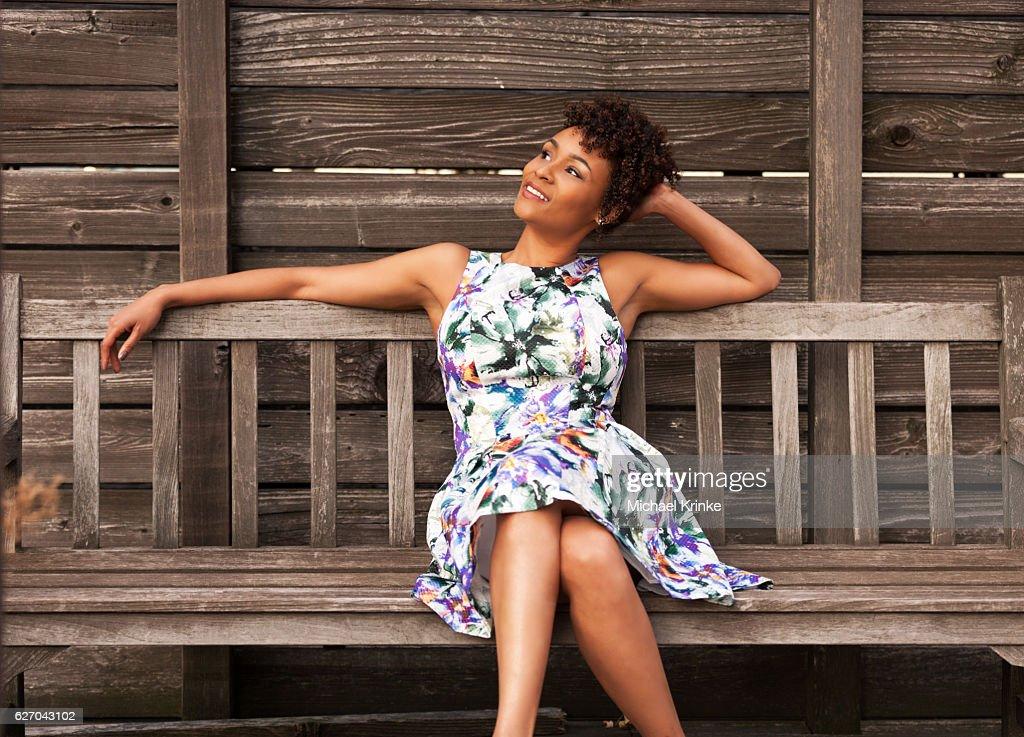 woman enjoying warm weather : Stock Photo
