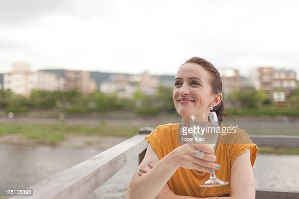 Woman enjoying wine