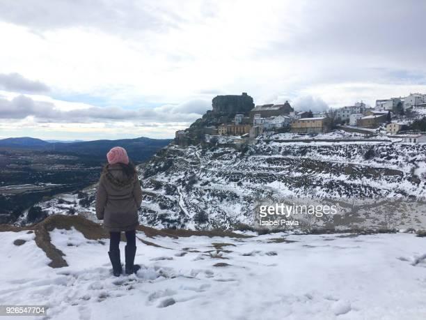 Woman enjoying winter landscape