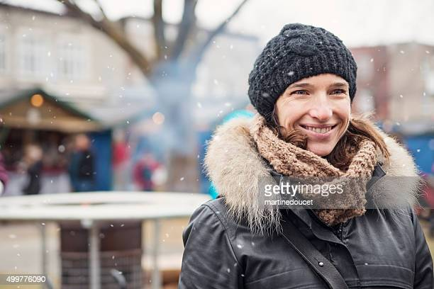 "woman enjoying winter season, outdoors in city public park. - ""martine doucet"" or martinedoucet stock pictures, royalty-free photos & images"