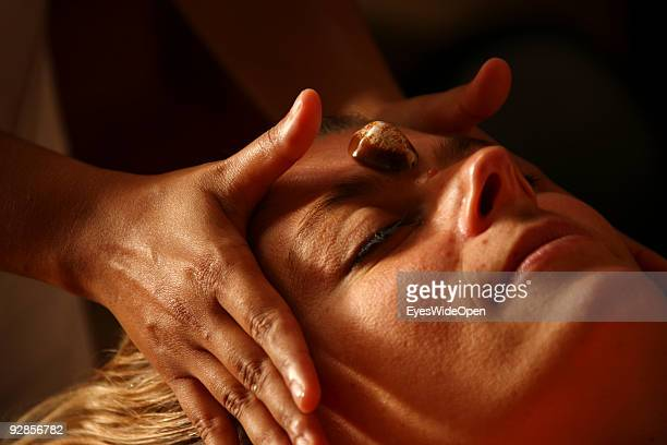 Woman enjoys a Ayurveda health treatment with a Kaurishell in the luxurious ShangriLa's Villingili Resort and Spa Hotel on September 27 2009 in Male...