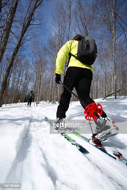 Woman enjoys backcountry skiing in West Virginia.