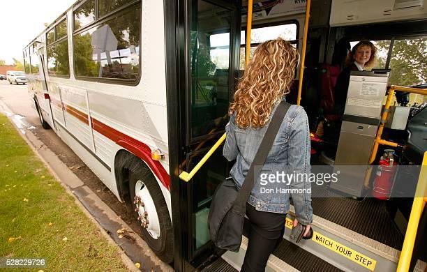 Woman Entering Public Bus