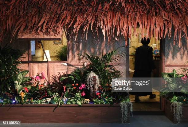A woman enters a Fijian hut used for meetings at the Fiji pavilion in Bonn Zone at the COP 23 United Nations Climate Change Conference on November 7...