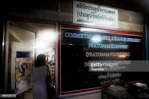 A woman enters the Pratunam Polyclinic in Bangkok Thailand on Friday Oct 2 2015 For about 70000 baht patients male genitalia can be reassigned female...