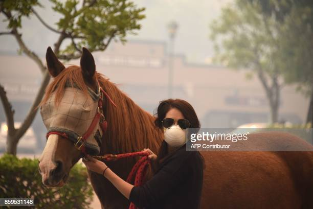 A woman evacuates a horse as strong Santa Ana winds blow fire and smoke from the Canyon 2 Fire toward them on October 9 2017 in Orange California /...