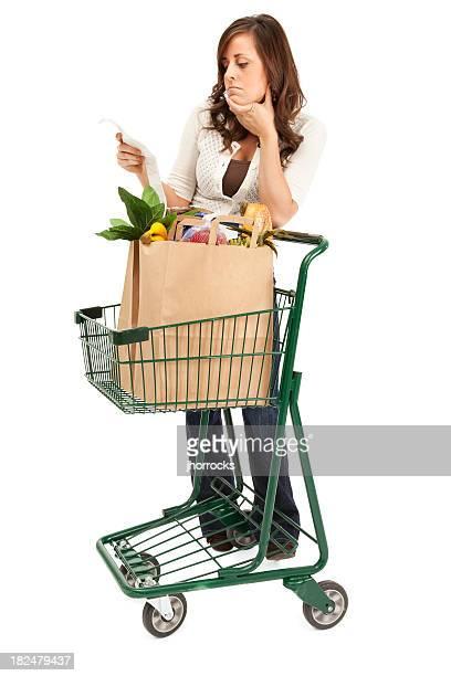 Woman Examining Grocery Bill
