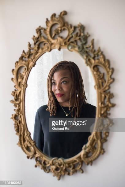 Portrait of black businesswoman with dreadlocks