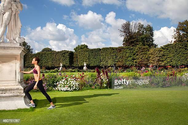 Woman exercise In European Garden, Paris