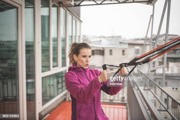woman exercising - elastic bandage stock photos and pictures