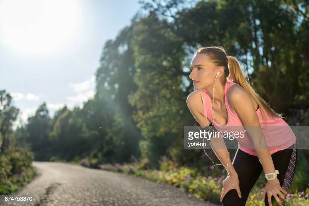 Woman exercising & running & resting