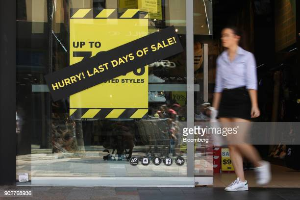 A woman exits a footwear store in the Manly Corso retail area in Sydney Australia on Friday Jan 5 2018 The Australian Bureau of Statistics is...