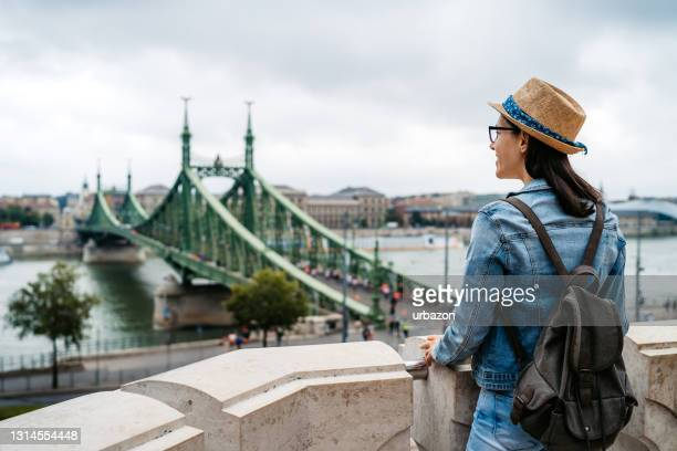 woman exploring budapest - hungary stock pictures, royalty-free photos & images