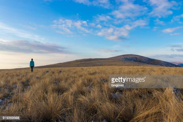 woman exploring grass plains - morality stock pictures, royalty-free photos & images