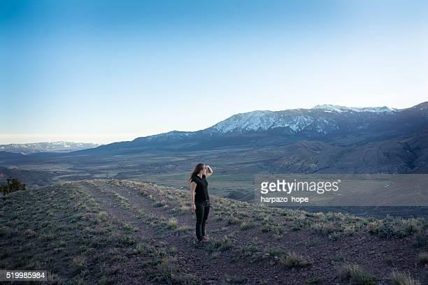 Woman exploring mountainous Utah.