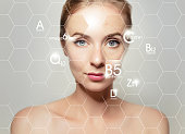 woman face portrait with graphic icons of vitamins and minerals for skin treatment