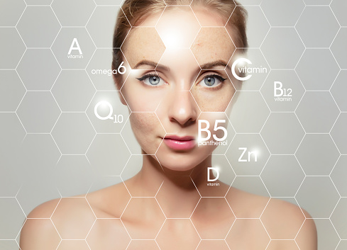 woman face portrait with graphic icons of vitamins and minerals for skin treatment 1143099943