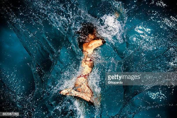 woman falling in to water