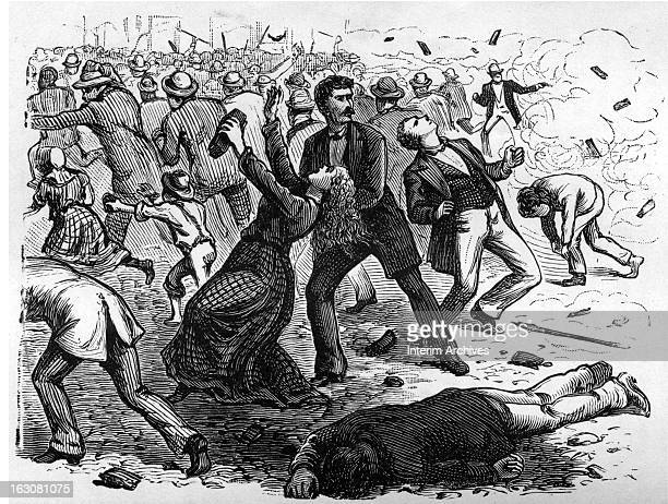 A woman falls back as if shot as others run away in a scene depicting the streets of Baltimore after troops of the Sixth Regiment fired their first...