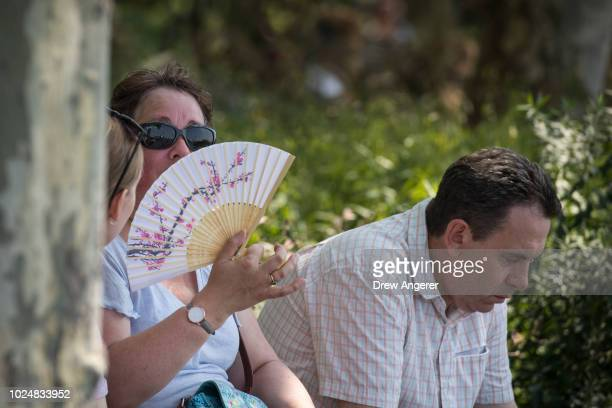 Woman fans herself on a hot and humid afternoon in Battery Park in Lower Manhattan, August 28, 2018 in New York City. With temperatures reaching into...