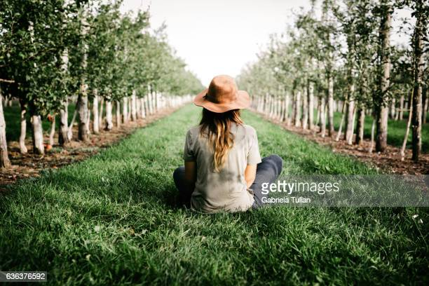 woman farmer sitting in her organic orchard - orchard stockfoto's en -beelden