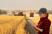 Woman farmer with digital tablet