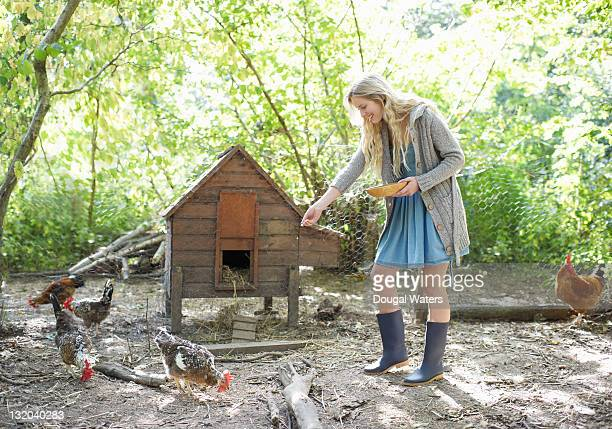 Woman feeding chickens.