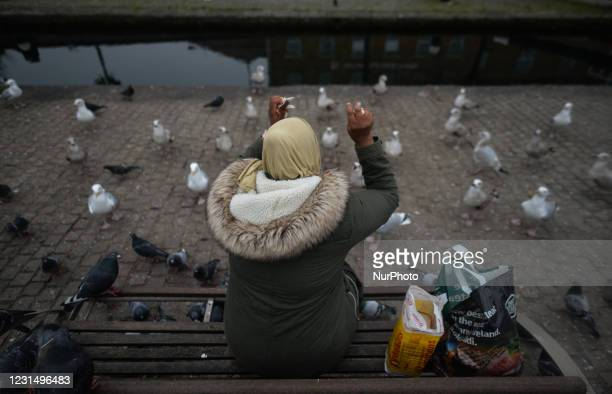 Woman feeds birds at the Grand Canal in Portobello area of Dublin during Level 5 Covid-19 lockdown. On Wednesday, March 3 in Dublin, Ireland.