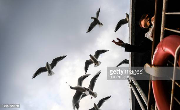 A woman feeds seagulls as she travel on a ferry from the European to the Anatolian side of Istanbul on February 4 2017 / AFP / BULENT KILIC
